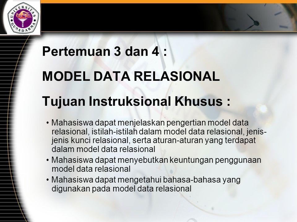 Pertemuan 3 dan 4 : MODEL DATA RELASIONAL Tujuan Instruksional Khusus : Mahasiswa dapat menjelaskan pengertian model data relasional, istilah-istilah