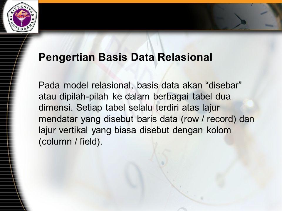 """Pengertian Basis Data Relasional Pada model relasional, basis data akan """"disebar"""" atau dipilah-pilah ke dalam berbagai tabel dua dimensi. Setiap tabel"""