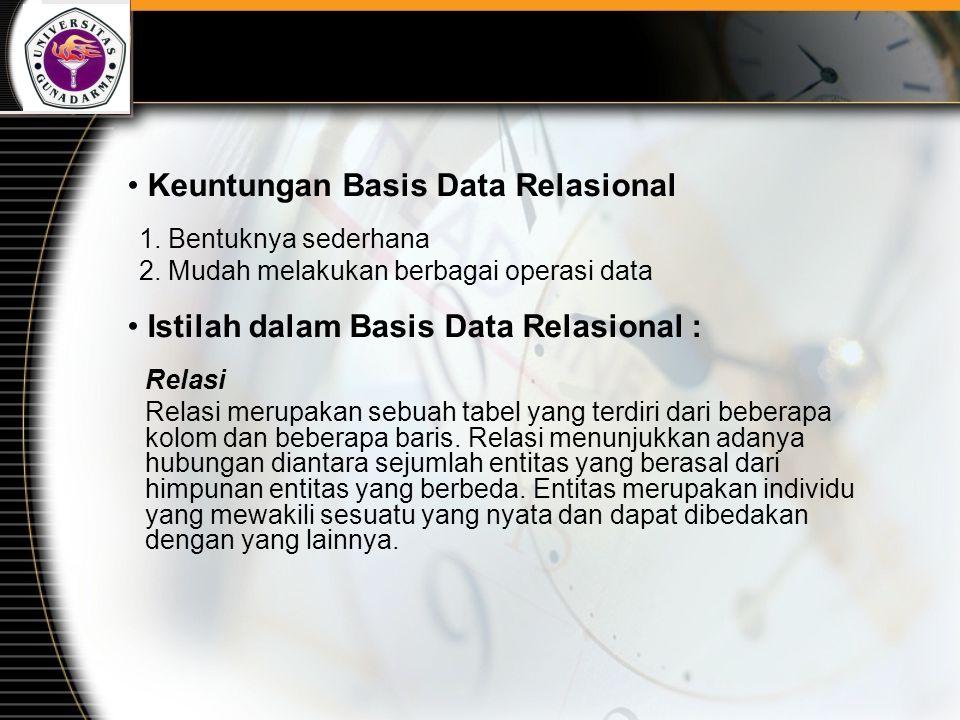 Contoh-contoh Basis Data Relasional : DB2  IBM ORACLE  Oracle SYBASE  Powersoft INFORMIX  Informix Microsoft Access  Microsoft
