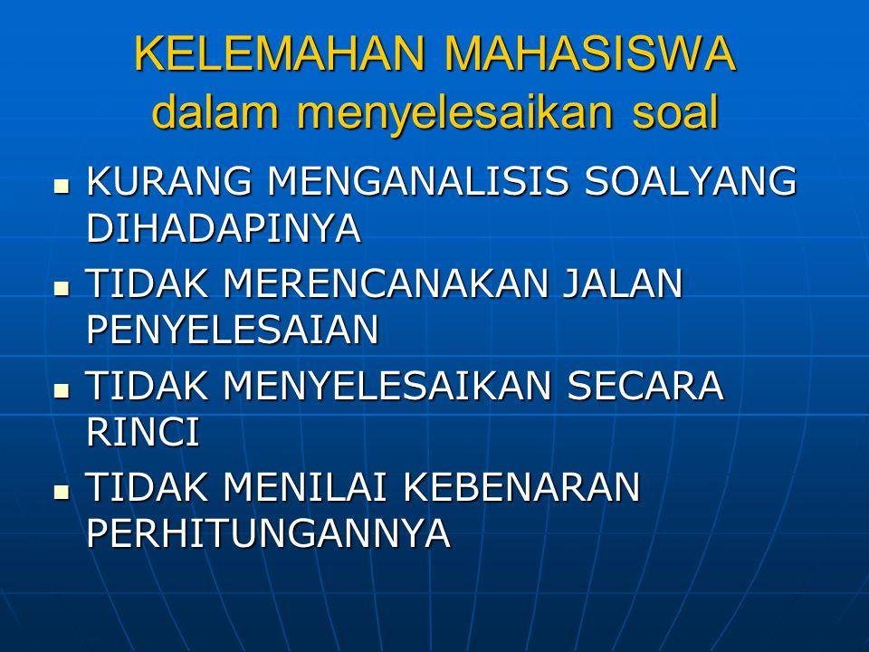 MENYUSUN PROSES BELAJAR (GAL'PERIN) ORIENTASI ORIENTASI - DIBERIKAN POKOK-POKOK PENTING (CERAMAH SINGKAT) (CERAMAH SINGKAT) LATIHAN LATIHAN - BERLATIH MENERAPKAN MELALUI SOAL –SOAL KONKRIT UMPAN BALIK UMPAN BALIK