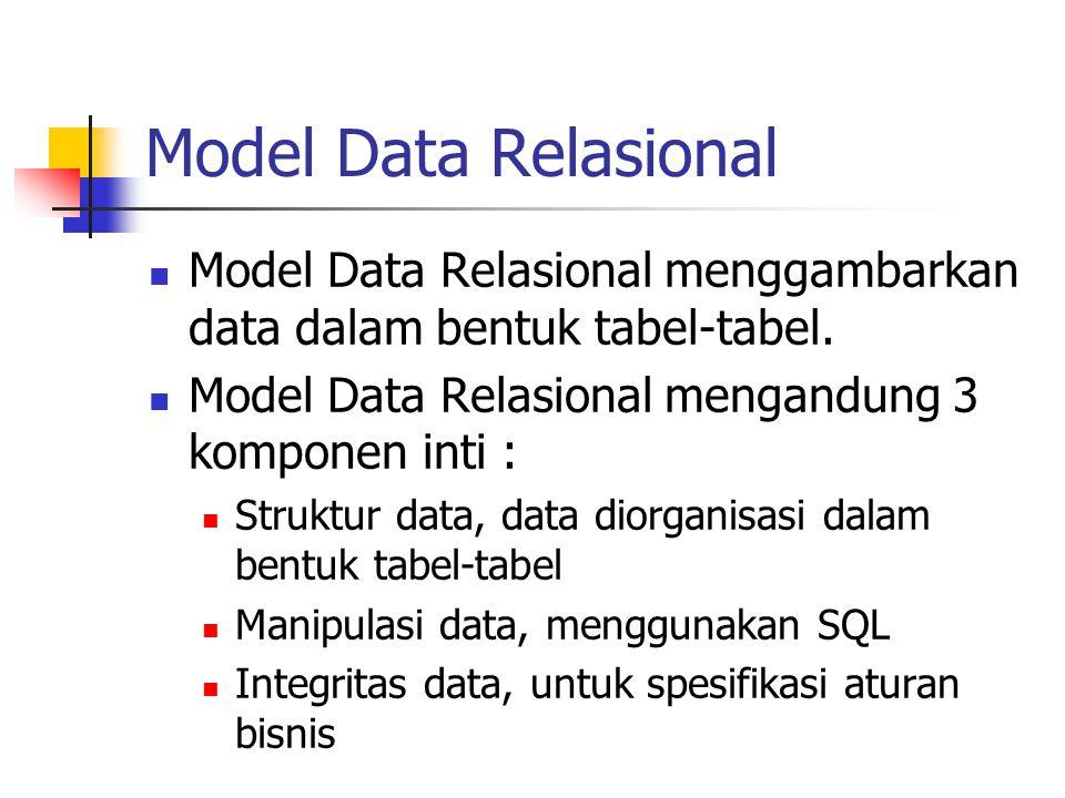 Model Data Relasional Model Data Relasional menggambarkan data dalam bentuk tabel-tabel. Model Data Relasional mengandung 3 komponen inti : Struktur d