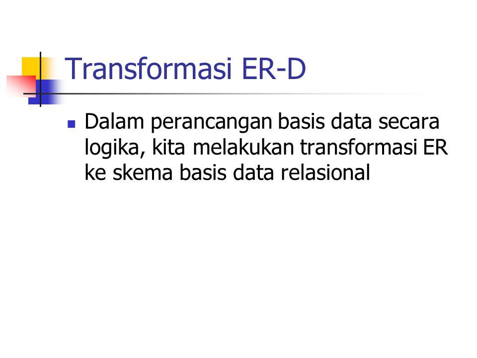 Transformasi ER-D Dalam perancangan basis data secara logika, kita melakukan transformasi ER ke skema basis data relasional