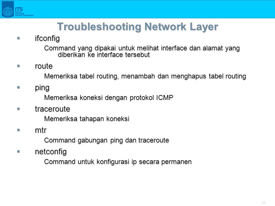 14 Troubleshooting Network Layer  ifconfig Command yang dipakai untuk melihat interface dan alamat yang diberikan ke interface tersebut  route Memer