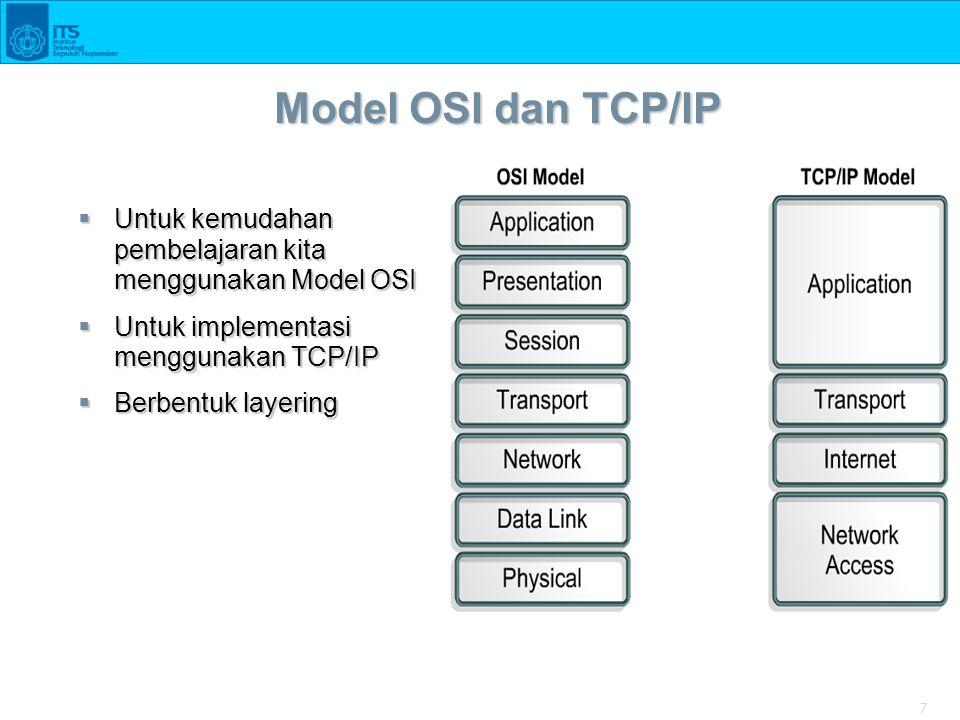 7 Model OSI dan TCP/IP  Untuk kemudahan pembelajaran kita menggunakan Model OSI  Untuk implementasi menggunakan TCP/IP  Berbentuk layering