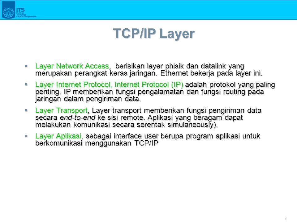 9 TCP/IP Layer  Layer Network Access, berisikan layer phisik dan datalink yang merupakan perangkat keras jaringan. Ethernet bekerja pada layer ini. 