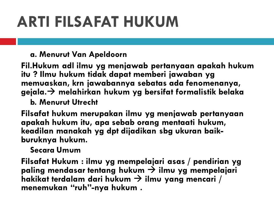 ARTI FILSAFAT HUKUM a.