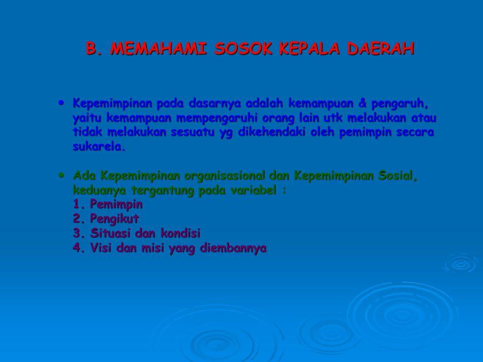 B. MEMAHAMI SOSOK KEPALA DAERAH Kepemimpinan pada dasarnya adalah kemampuan & pengaruh, Kepemimpinan pada dasarnya adalah kemampuan & pengaruh, yaitu