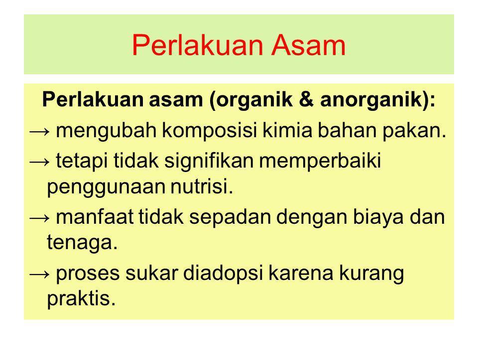 Perlakuan Asam Perlakuan asam (organik & anorganik): → mengubah komposisi kimia bahan pakan.