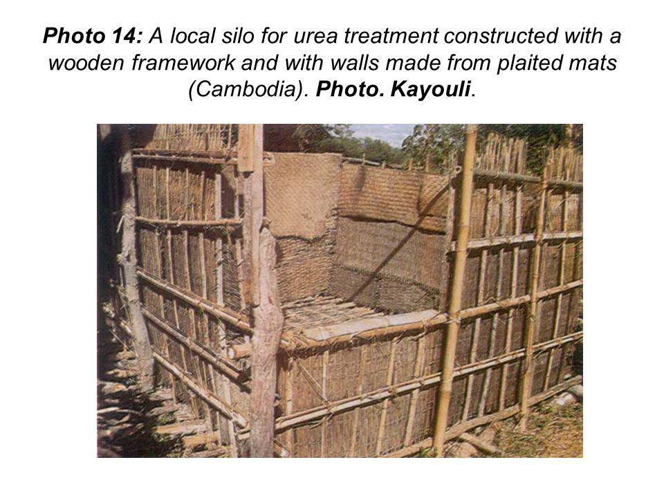 Photo 14: A local silo for urea treatment constructed with a wooden framework and with walls made from plaited mats (Cambodia). Photo. Kayouli.