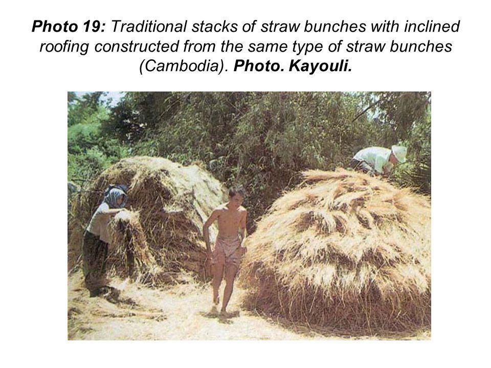 Photo 19: Traditional stacks of straw bunches with inclined roofing constructed from the same type of straw bunches (Cambodia).