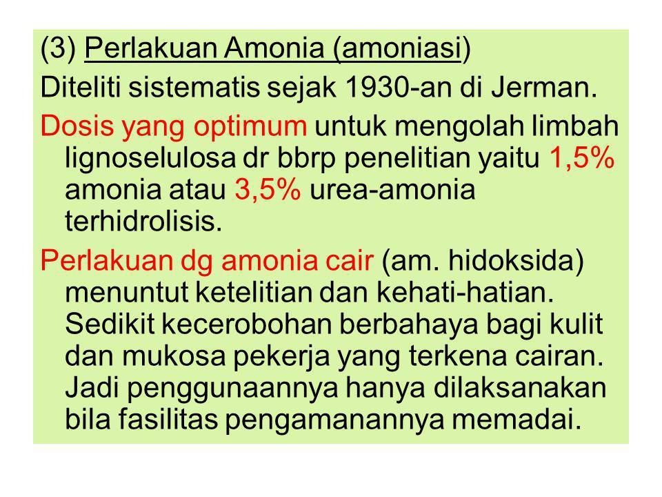 (3) Perlakuan Amonia (amoniasi) Diteliti sistematis sejak 1930-an di Jerman.