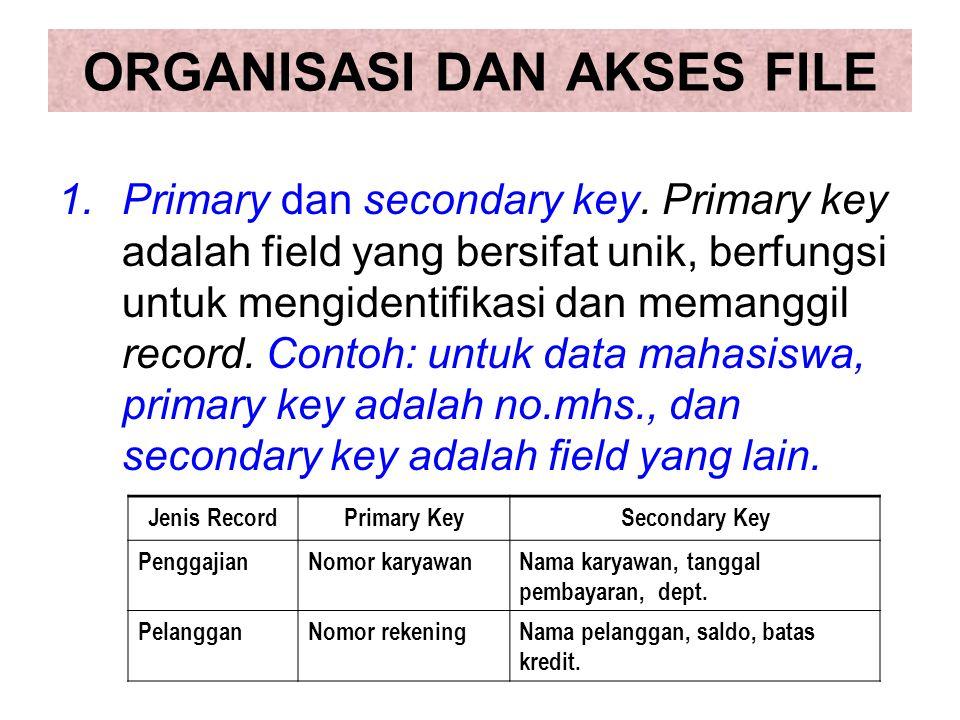 ORGANISASI DAN AKSES FILE 1.Primary dan secondary key. Primary key adalah field yang bersifat unik, berfungsi untuk mengidentifikasi dan memanggil rec