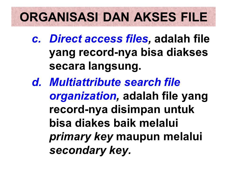c.Direct access files, adalah file yang record-nya bisa diakses secara langsung. d.Multiattribute search file organization, adalah file yang record-ny