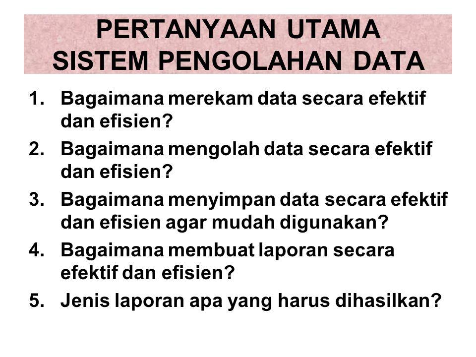 PERTANYAAN UTAMA SISTEM PENGOLAHAN DATA 1.Bagaimana merekam data secara efektif dan efisien? 2.Bagaimana mengolah data secara efektif dan efisien? 3.B