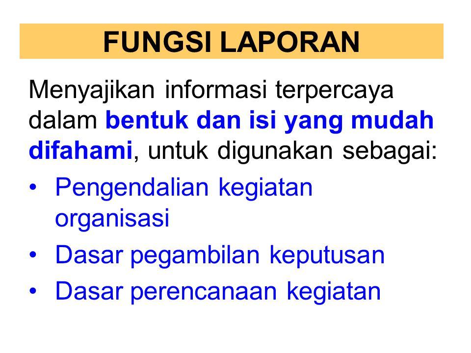 FUNGSI LAPORAN Menyajikan informasi terpercaya dalam bentuk dan isi yang mudah difahami, untuk digunakan sebagai: Pengendalian kegiatan organisasi Das