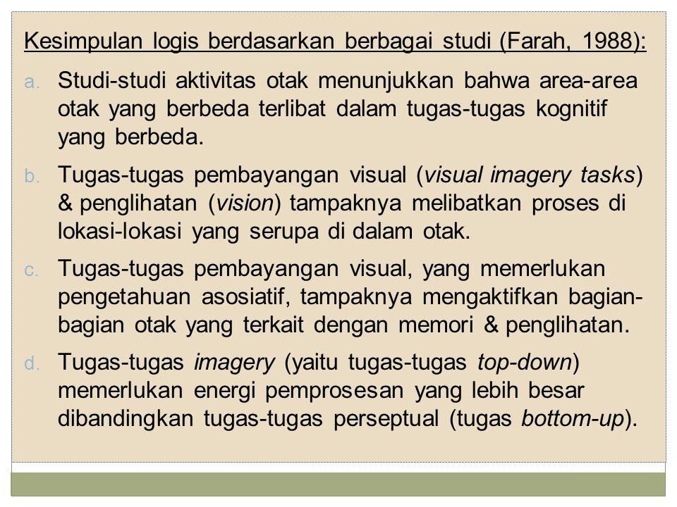 Kesimpulan logis berdasarkan berbagai studi (Farah, 1988): a.