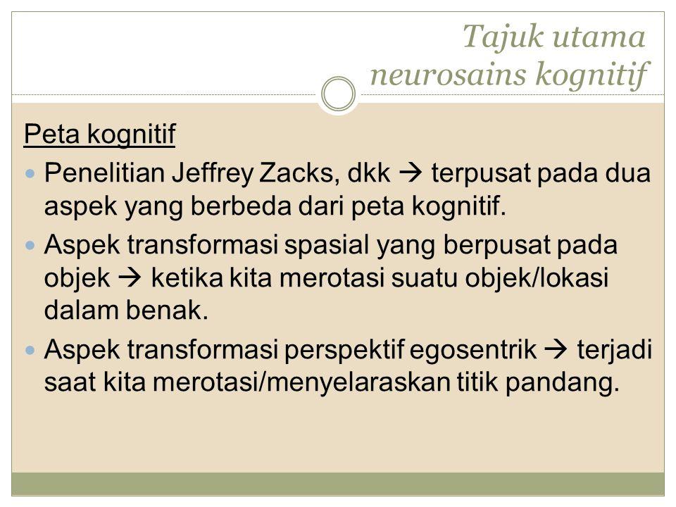 Tajuk utama neurosains kognitif Peta kognitif Penelitian Jeffrey Zacks, dkk  terpusat pada dua aspek yang berbeda dari peta kognitif.
