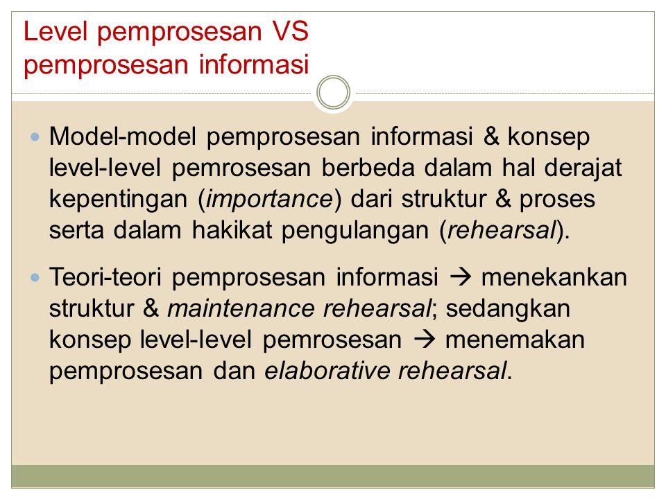 Model-model pemprosesan informasi & konsep level-level pemrosesan berbeda dalam hal derajat kepentingan (importance) dari struktur & proses serta dalam hakikat pengulangan (rehearsal).