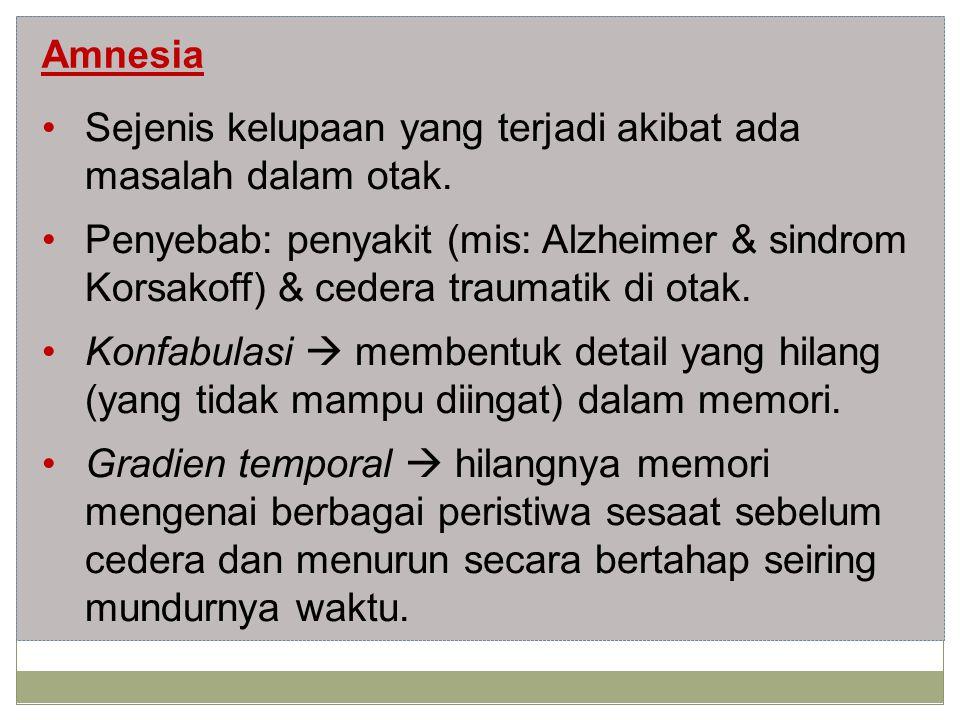 Amnesia Sejenis kelupaan yang terjadi akibat ada masalah dalam otak.