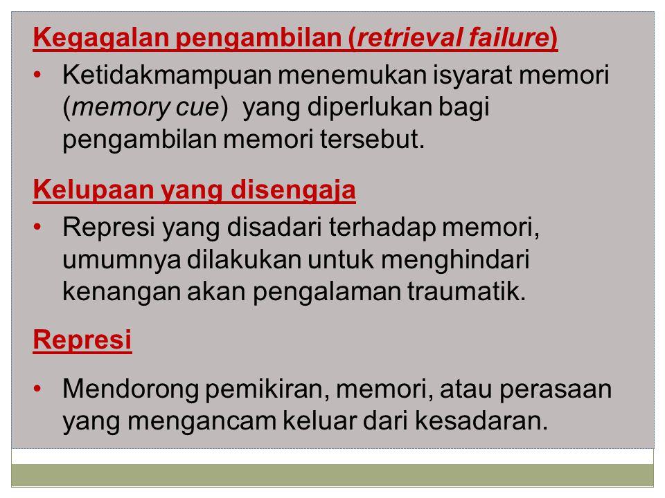 Kegagalan pengambilan (retrieval failure) Ketidakmampuan menemukan isyarat memori (memory cue) yang diperlukan bagi pengambilan memori tersebut.