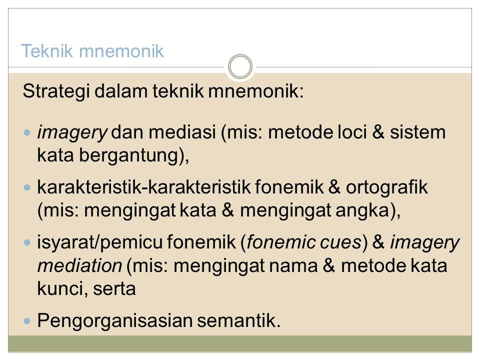 Teknik mnemonik Strategi dalam teknik mnemonik: imagery dan mediasi (mis: metode loci & sistem kata bergantung), karakteristik-karakteristik fonemik & ortografik (mis: mengingat kata & mengingat angka), isyarat/pemicu fonemik (fonemic cues) & imagery mediation (mis: mengingat nama & metode kata kunci, serta Pengorganisasian semantik.