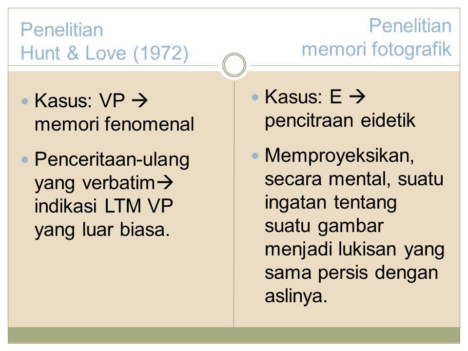 Penelitian Hunt & Love (1972) Kasus: VP  memori fenomenal Penceritaan-ulang yang verbatim  indikasi LTM VP yang luar biasa.