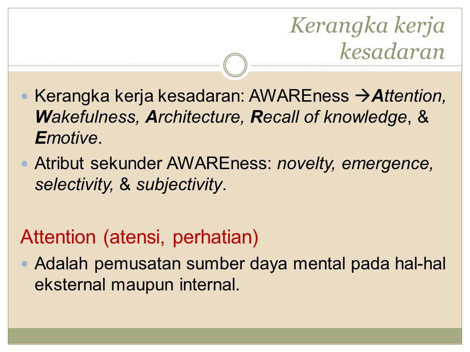 Kerangka kerja kesadaran: AWAREness  Attention, Wakefulness, Architecture, Recall of knowledge, & Emotive.