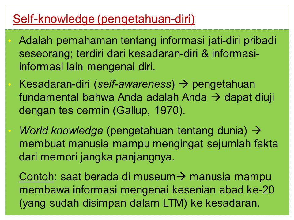 Adalah pemahaman tentang informasi jati-diri pribadi seseorang; terdiri dari kesadaran-diri & informasi- informasi lain mengenai diri.
