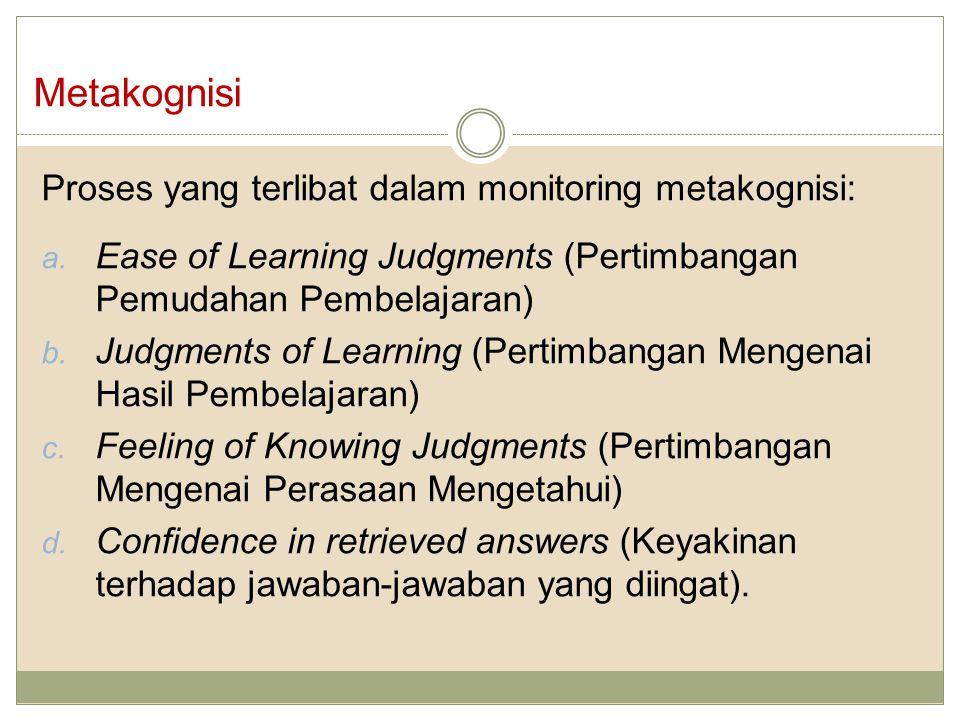 Proses yang terlibat dalam monitoring metakognisi: a.