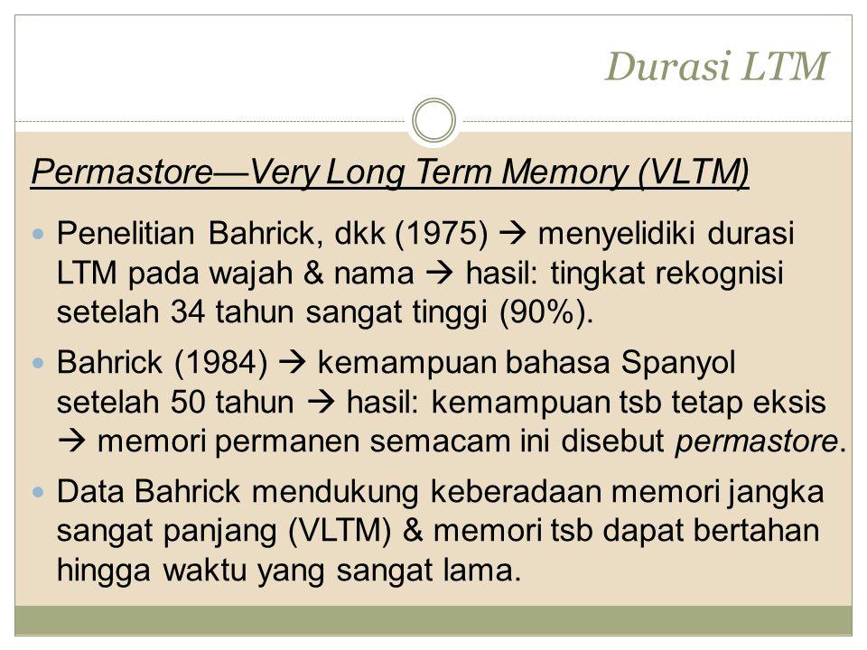 Durasi LTM Permastore—Very Long Term Memory (VLTM) Penelitian Bahrick, dkk (1975)  menyelidiki durasi LTM pada wajah & nama  hasil: tingkat rekognisi setelah 34 tahun sangat tinggi (90%).