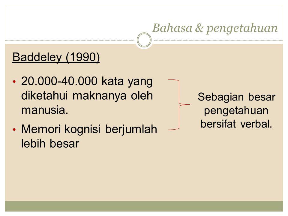 Bahasa & pengetahuan Baddeley (1990) 20.000-40.000 kata yang diketahui maknanya oleh manusia.