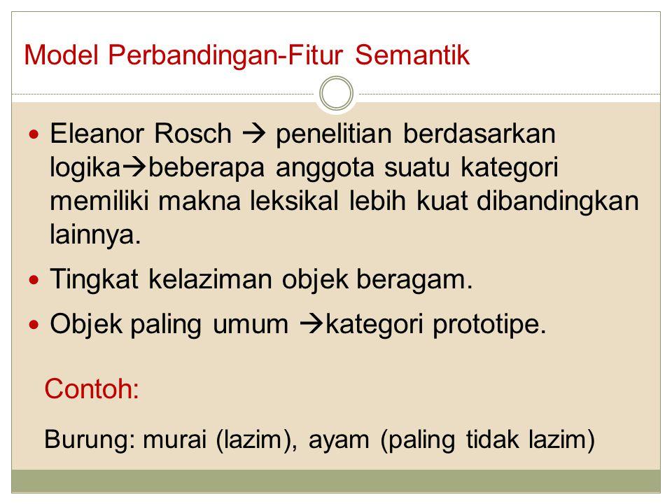 Eleanor Rosch  penelitian berdasarkan logika  beberapa anggota suatu kategori memiliki makna leksikal lebih kuat dibandingkan lainnya.