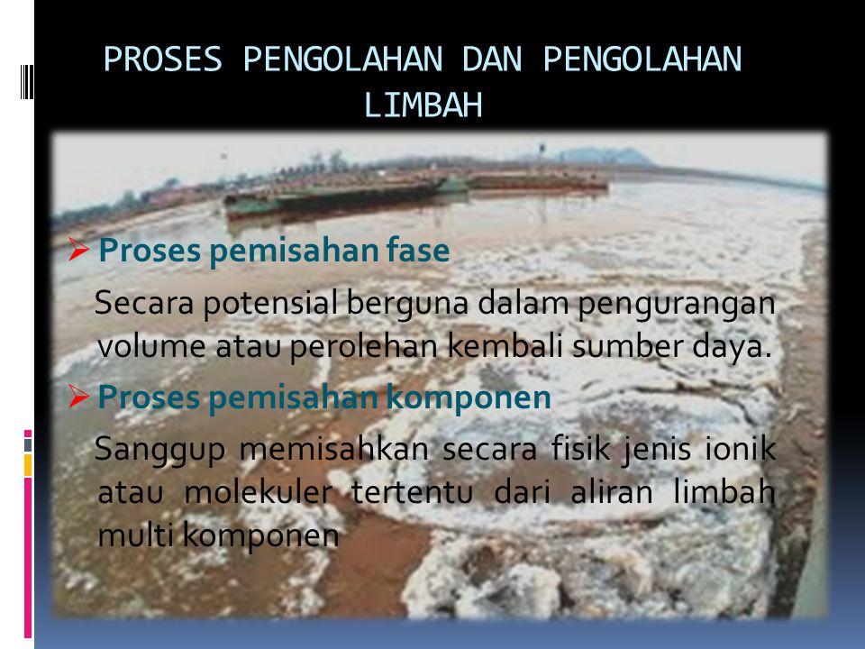 PROSES PENGOLAHAN DAN PENGOLAHAN LIMBAH  Proses pemisahan fase Secara potensial berguna dalam pengurangan volume atau perolehan kembali sumber daya.