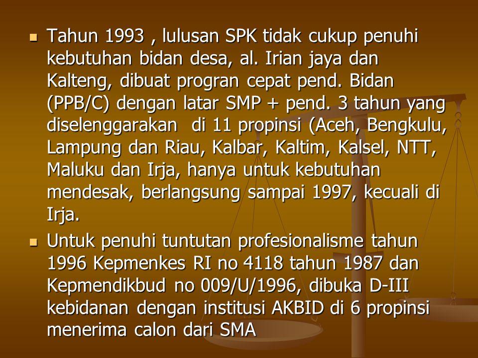Tahun 1993, lulusan SPK tidak cukup penuhi kebutuhan bidan desa, al. Irian jaya dan Kalteng, dibuat progran cepat pend. Bidan (PPB/C) dengan latar SMP
