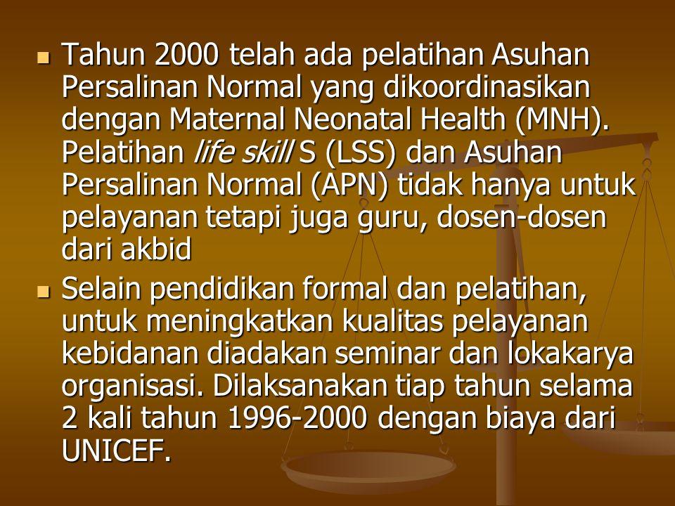 Tahun 2000 telah ada pelatihan Asuhan Persalinan Normal yang dikoordinasikan dengan Maternal Neonatal Health (MNH). Pelatihan life skill S (LSS) dan A