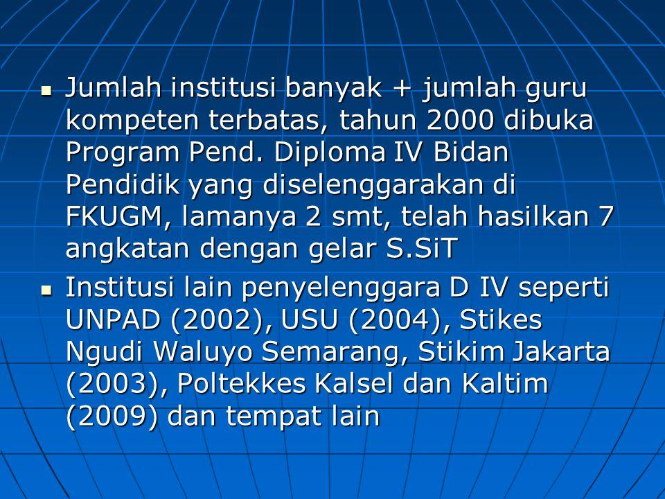 Jumlah institusi banyak + jumlah guru kompeten terbatas, tahun 2000 dibuka Program Pend. Diploma IV Bidan Pendidik yang diselenggarakan di FKUGM, lama