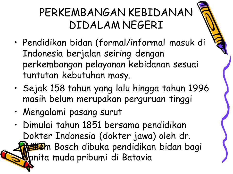 PERKEMBANGAN KEBIDANAN DIDALAM NEGERI Pendidikan bidan (formal/informal masuk di Indonesia berjalan seiring dengan perkembangan pelayanan kebidanan se
