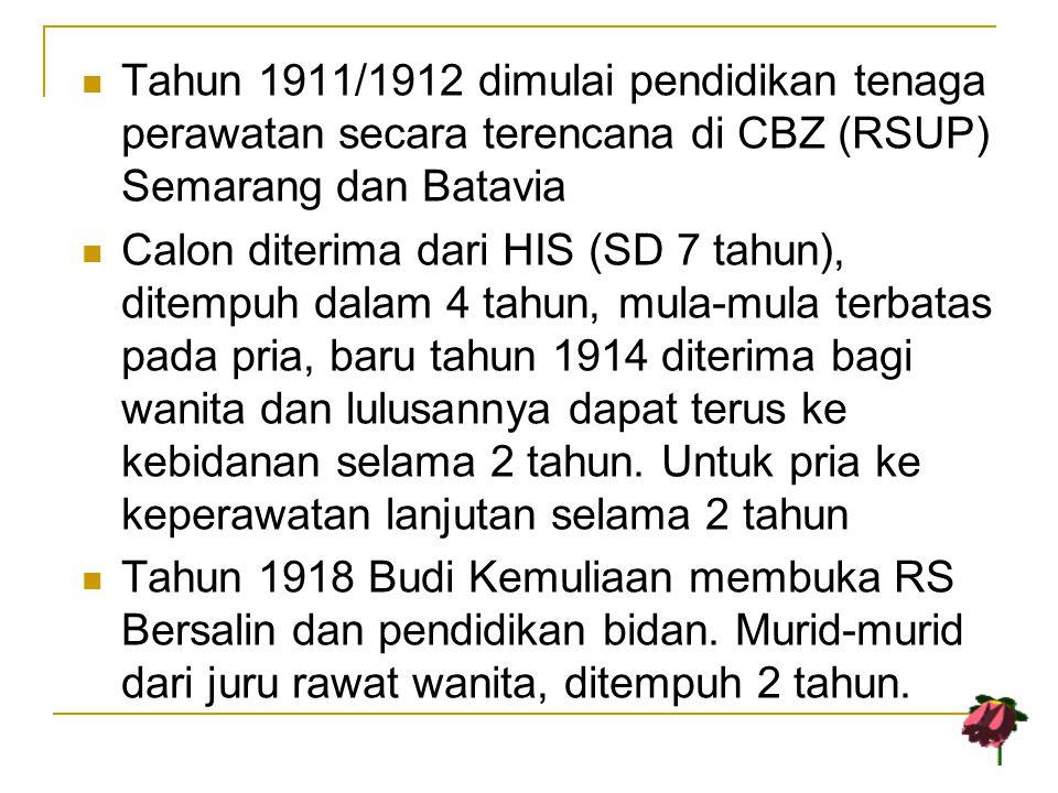 Tahun 1911/1912 dimulai pendidikan tenaga perawatan secara terencana di CBZ (RSUP) Semarang dan Batavia Calon diterima dari HIS (SD 7 tahun), ditempuh