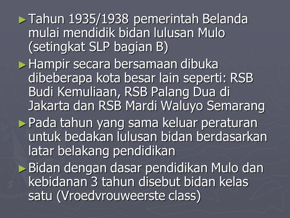 ► Tahun 1935/1938 pemerintah Belanda mulai mendidik bidan lulusan Mulo (setingkat SLP bagian B) ► Hampir secara bersamaan dibuka dibeberapa kota besar