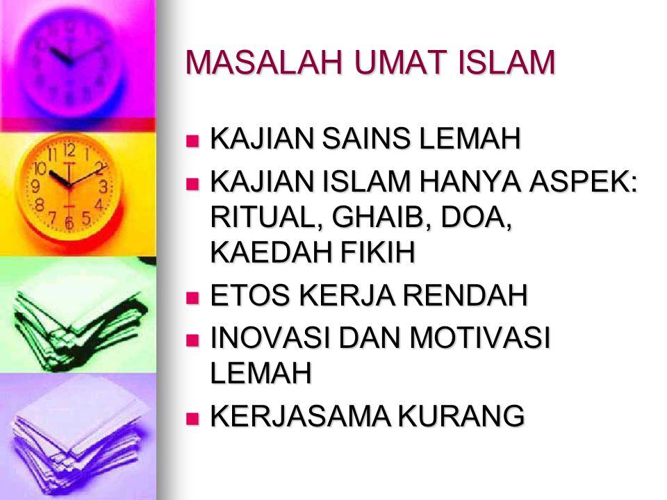 MASALAH UMAT ISLAM KAJIAN SAINS LEMAH KAJIAN SAINS LEMAH KAJIAN ISLAM HANYA ASPEK: RITUAL, GHAIB, DOA, KAEDAH FIKIH KAJIAN ISLAM HANYA ASPEK: RITUAL,