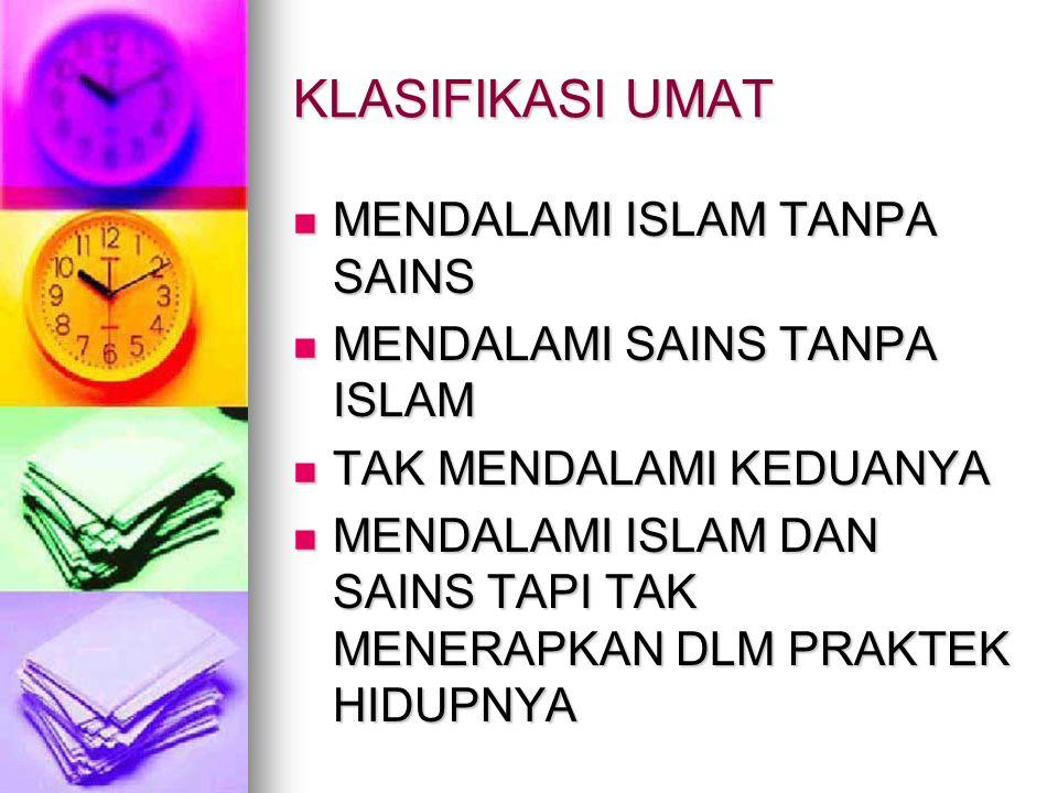 KLASIFIKASI UMAT MENDALAMI ISLAM TANPA SAINS MENDALAMI ISLAM TANPA SAINS MENDALAMI SAINS TANPA ISLAM MENDALAMI SAINS TANPA ISLAM TAK MENDALAMI KEDUANY