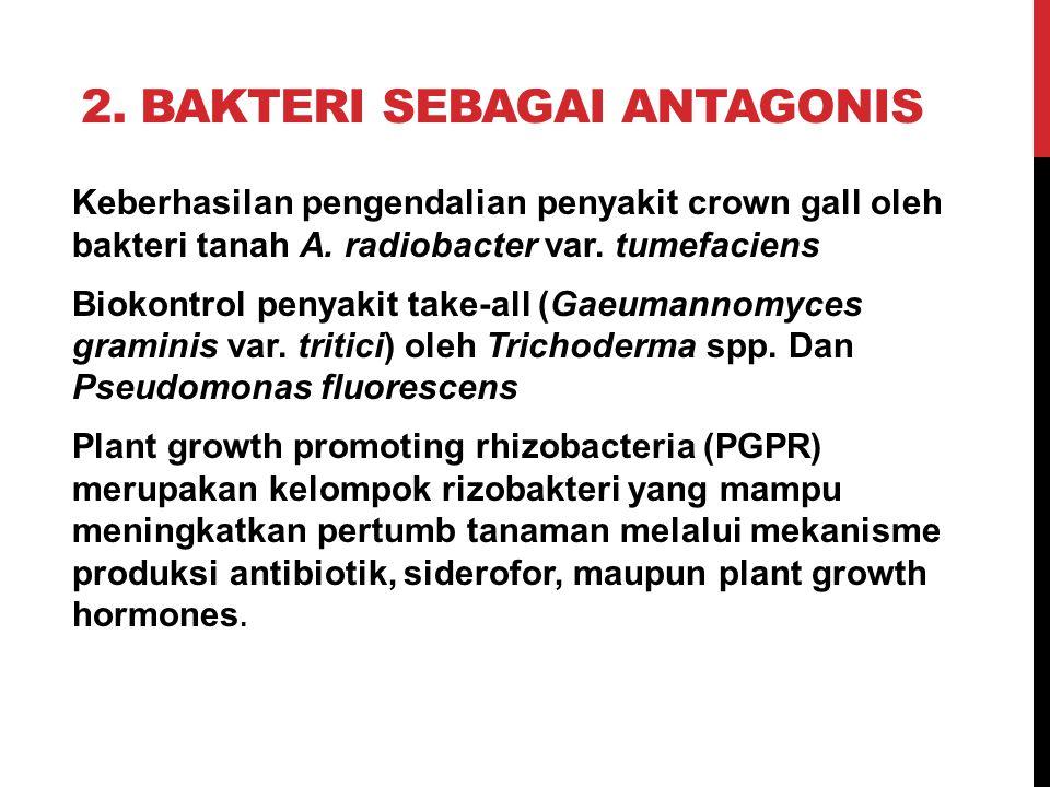2. BAKTERI SEBAGAI ANTAGONIS Keberhasilan pengendalian penyakit crown gall oleh bakteri tanah A. radiobacter var. tumefaciens Biokontrol penyakit take