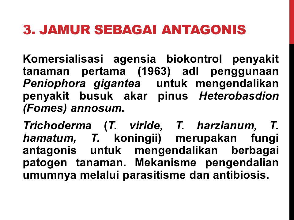 3. JAMUR SEBAGAI ANTAGONIS Komersialisasi agensia biokontrol penyakit tanaman pertama (1963) adl penggunaan Peniophora gigantea untuk mengendalikan pe
