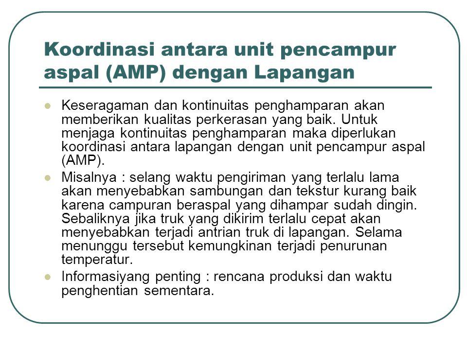 Koordinasi antara unit pencampur aspal (AMP) dengan Lapangan Keseragaman dan kontinuitas penghamparan akan memberikan kualitas perkerasan yang baik. U