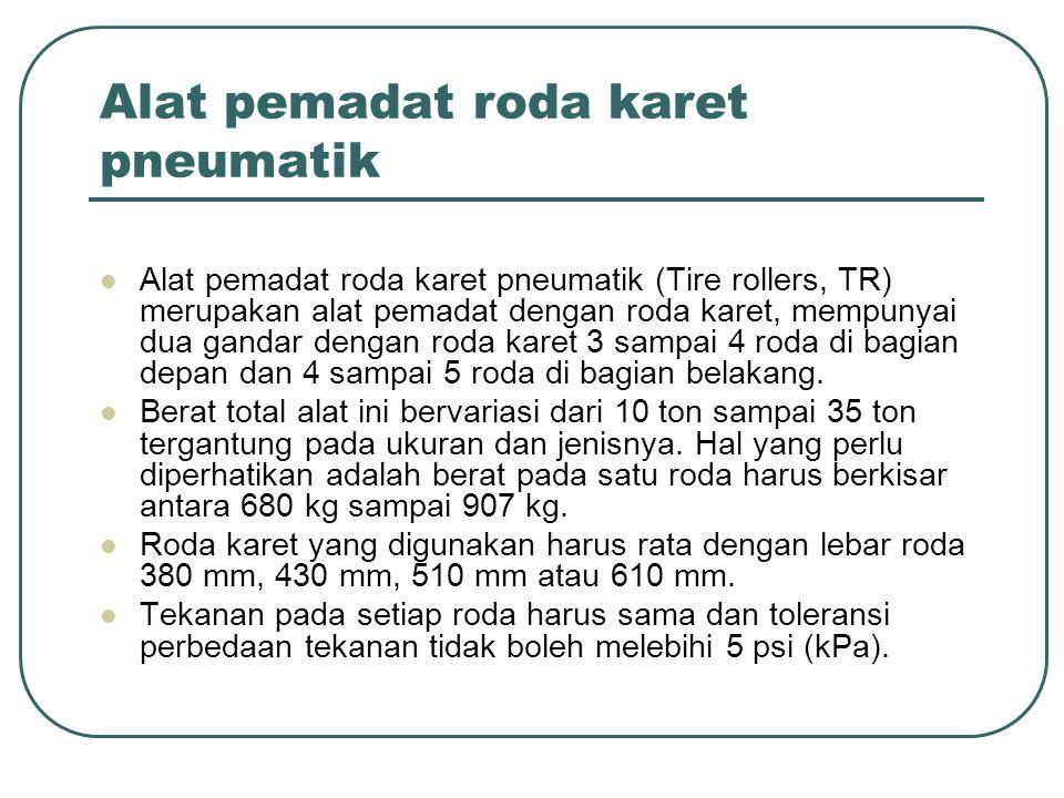 Alat pemadat roda karet pneumatik Alat pemadat roda karet pneumatik (Tire rollers, TR) merupakan alat pemadat dengan roda karet, mempunyai dua gandar
