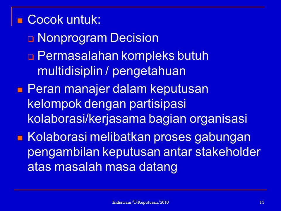 Indrawani/T-Keputusan/2010 11 Cocok untuk:  Nonprogram Decision  Permasalahan kompleks butuh multidisiplin / pengetahuan Peran manajer dalam keputus