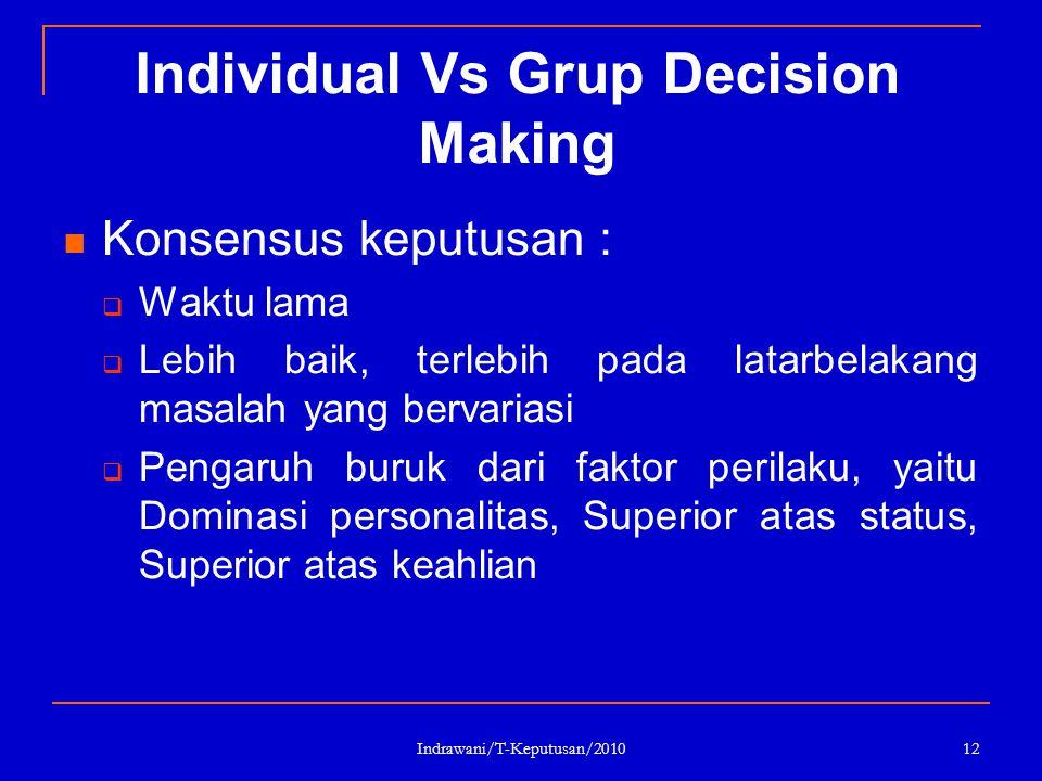 Indrawani/T-Keputusan/2010 12 Individual Vs Grup Decision Making Konsensus keputusan :  Waktu lama  Lebih baik, terlebih pada latarbelakang masalah