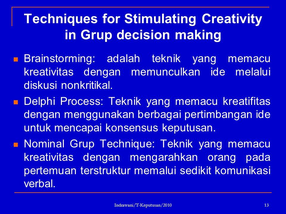 Indrawani/T-Keputusan/2010 13 Techniques for Stimulating Creativity in Grup decision making Brainstorming: adalah teknik yang memacu kreativitas denga