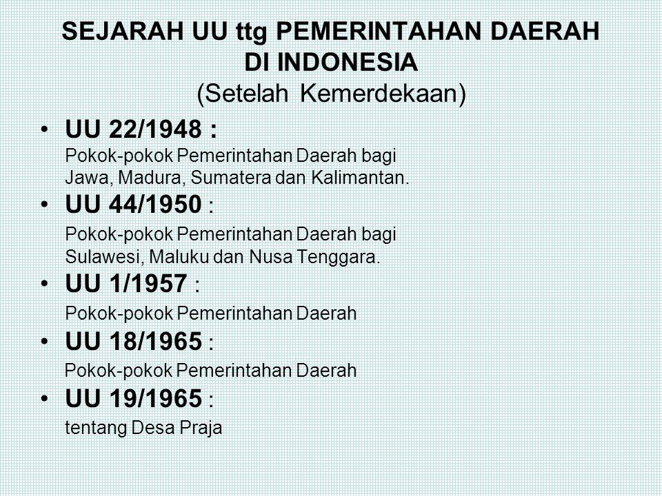 Pemerintahan Daerah di Indonesia Dasar Konstitusional (UUD 1945): Bab VI Pasal 18, 18 A, 18B UU No.32/2004 : -Urusan Pemerintah Daerah Bab III (Psl 10