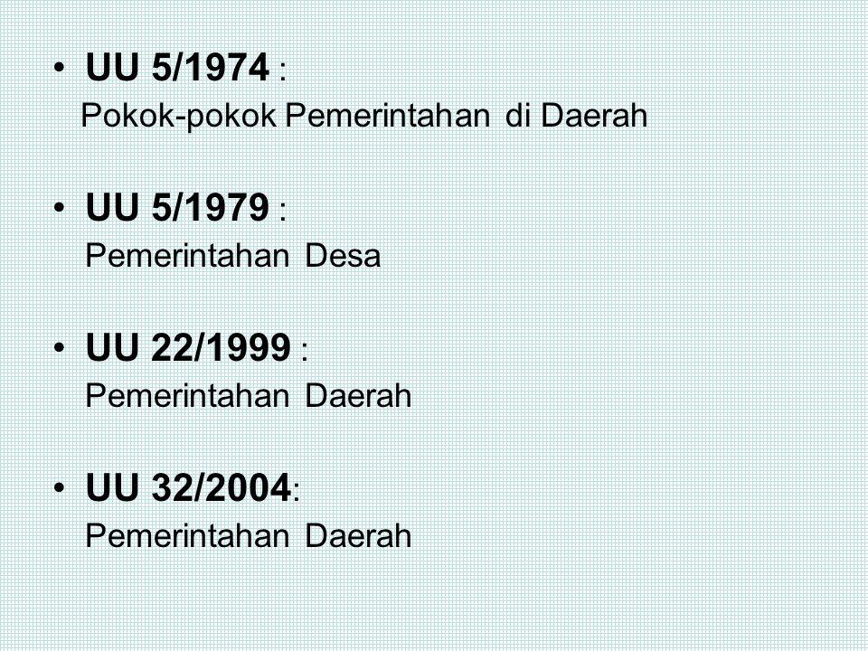 SEJARAH UU ttg PEMERINTAHAN DAERAH DI INDONESIA (Setelah Kemerdekaan) UU 22/1948 : Pokok-pokok Pemerintahan Daerah bagi Jawa, Madura, Sumatera dan Kal
